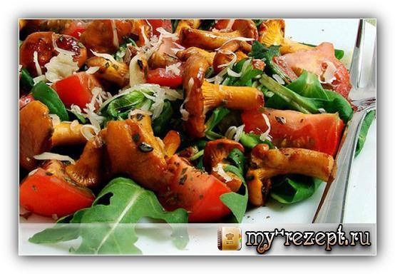 салат полянка с опятами